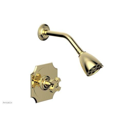 MARVELLE Pressure Balance Shower Set - Cross Handle 162-21 - Polished Brass