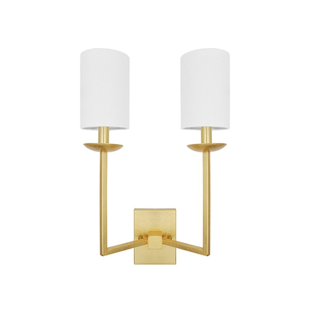 Two Arm Sconce With White Linen Shade In Gold Leaf