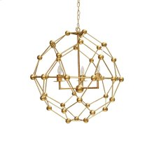 Large Molecule Chandelier In Gold Leaf - Uses (3) E12 40 Watt Candelabra Bulbs