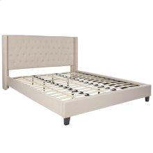King Size Tufted Upholstered Platform Bed in Beige Fabric