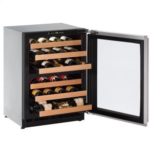 """U-Line 24"""" Dual-Zone Wine Refrigerator With Stainless Frame Finish And Field Reversible Door Swing (115 V/60 Hz Volts /60 Hz Hz)"""