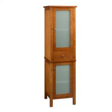 Contemporary Linen Cabinet Storage Tower in Cinnamon