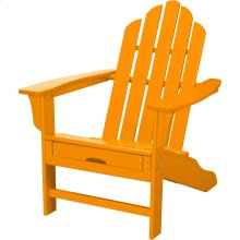 All-Weather Contoured Adirondack Chair with Hideaway Ottoman- Tangerine
