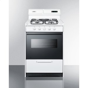 """Summit24"""" Wide Gas Range In White With Sealed Burners, Digital Clock/timer, Black Glass Oven Door With Window, Interior Light, and Spark Ignition"""