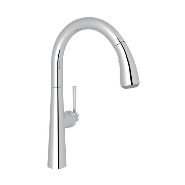 Polished Chrome Lux Pull-Down Kitchen Faucet with Lux Metal Lever