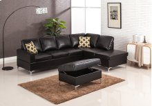 Maya Black Sectional with Storage Ottoman