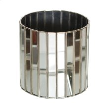 Antique Mirror Faceted Round Planter With Silver Edging.