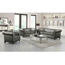 Roy Traditional Gunmetal Grey Three-piece Living Room Set