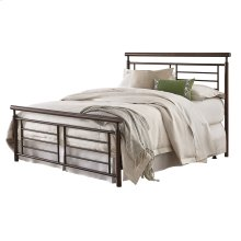 Southport Complete Metal Bed and Steel Support Frame with Geometric Grills and Rounded Top Rails, Copper Penny Finish, King