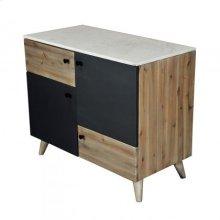 *Two Tone Credenza Sm /White Marble+Wood+Iron Sheet/36*18*30