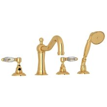 Italian Brass Acqui 4-Hole Deck Mount Column Spout Tub Filler With Handshower with Crystal Lever