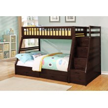 Merlin Espresso Twin over Full Staircase Bunkbed with 2 Storage Drawers
