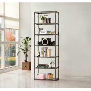 CoasterContemporary Black Nickel Six-tier Bookcase