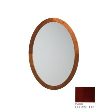 Contemporary Solid Wood Framed Oval Bathroom Mirror in Dark Cherry
