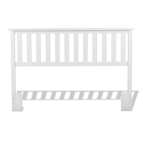 Belmont Wooden Headboard Panel with Slatted Grill Design, White Finish, Full / Queen