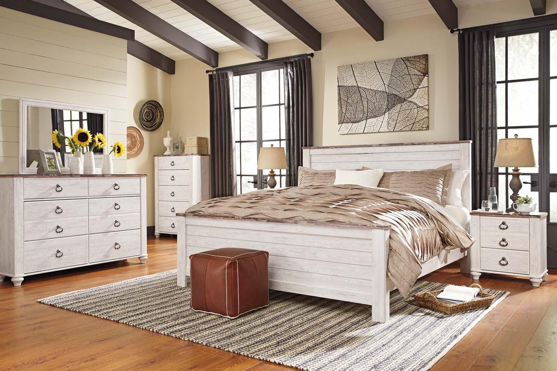 Willowton   White Wash 3 Piece Bed Set (King)
