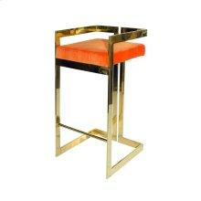Linear Bar Stool With Brass Base and Orange Velvet Cushion
