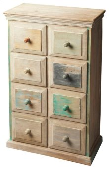 Crafted from recycled wood solids, this Drawer Chest is an irresistible combinatinon of rustic and colorful hand painting, ensuring this piece stands out as a one-of-a-kind original.