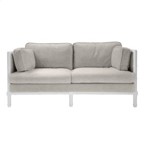 Worlds AwayBamboo Edge White Lacquer Sofa In Natural Linen