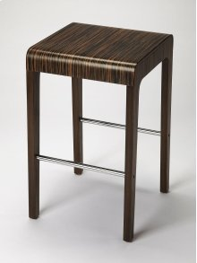 Enhance your kitchen, bar or work space with this modern bentwood counter stool. Its ebony veneer surface and waterfall front edge is attractively complemented by a chrome plated steel tube stretcher.