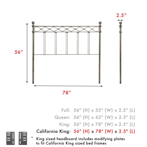 Argyle Metal Headboard Panel with Diamond Pattern Top Rail and Double Spindle Castings, Copper Chrome Finish, California King