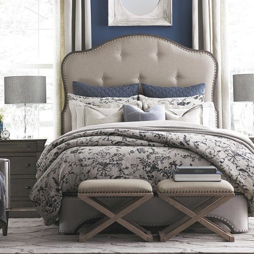 Queen/Provence Cobblestone Provence Upholstered Bed