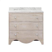 """Bath Vanity With White Marble Top In Cerused Oak With Nickel Hardware Features: - White Porcelain Sink Included - Optional White Carrara Marble Backsplash Included - for Use With 8"""" Widespread Faucet (not Included) - Two Working Drawers"""