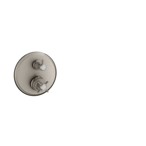 Stainless Steel Optic Thermostat for concealed installation with cross handle and shut-off/ diverter valve