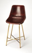 Enhance your kitchen, bar or work space with this contemporary leather counter stool. Its high-back composite seat is fully upholstered in vintage brown leather with distinctive leather cross-stitching. Its iron base features a footrest and X stretcher in Product Image