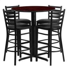 30'' Round Mahogany Laminate Table Set with 4 Ladder Back Metal Barstools - Black Vinyl Seat