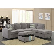Corvin Gray Reversible Sectional with Storage Ottoman