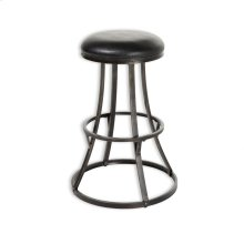 Dover Metal Barstool with Black Upholstered Swivel-Seat and Blackened Bronze Frame Finish, 30-Inch