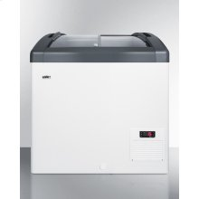 Curved Top Commercial Ice Cream Freezer With Sliding Glass Lid, Digital Thermostat, Novelty Baskets, and 5.7 CU.FT. Interior