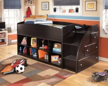 Twin/Twin Youth Loft Bed with Right Storage Steps