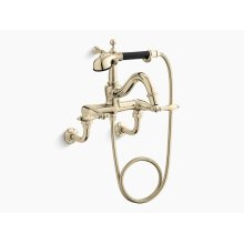 Vibrant French Gold Floor- or Wall-mount Faucet With Lever Handles, Diverter Spout, Polished Finish Accents and Handshower