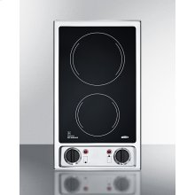 115v 2-burner Radiant Cooktop With Smooth Black Ceramic Glass Surface and Preinstalled Cord
