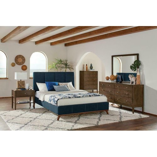 Charity Blue Upholstered Full Bed