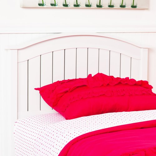 Finley Wood Headboard Panel with Curved Top Rail and Slatted Grill Design, White Finish, Twin