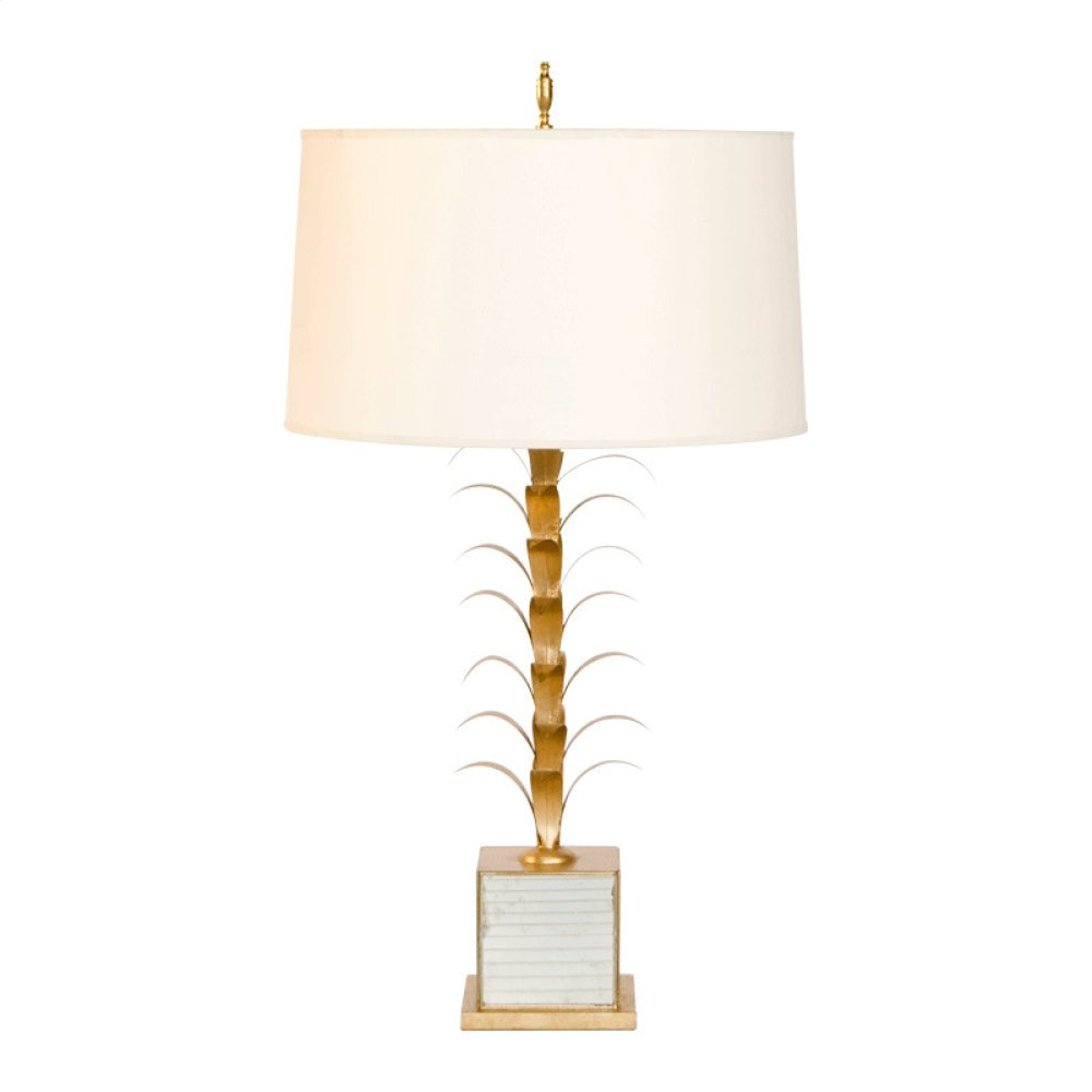 "Gold Leaf and Antique Mriror Lamp Base. Ships as Shown W. 15"" Diameter Parchment Paper Shade. Ul Approved for One 60 Watt Bulb."