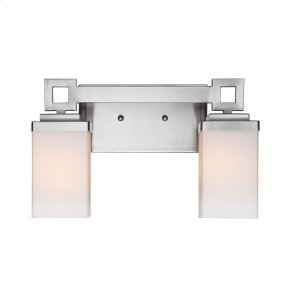 Nelio 2 Light Bath Vanity in Pewter with Cased Opal Glass