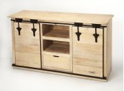 Update your entertainment ensemble with this Rustic, solid Mango wood, on-trend TV stand. Two sliding barn cabinet doors open to reveal out-of-sight storage space for DVDs, books, or video games, while two open shelves and a single drawer top provide a Product Image