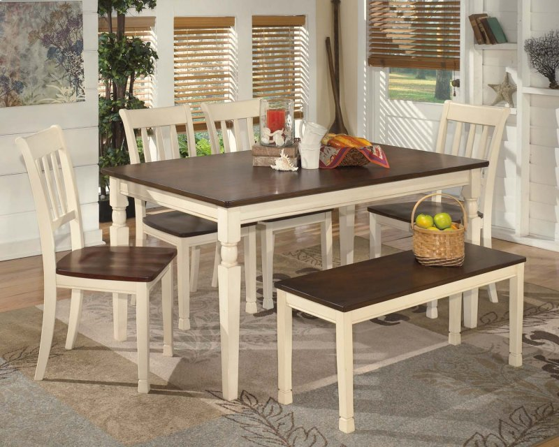 Whitesburg Brown Cottage White 6 Piece Dining Room Set