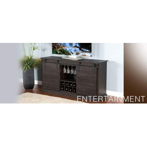 """65"""" TV Console w/ Wine Rack & Barn Door"""