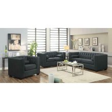 Cairns Transitional Charcoal Tufted Back Sofa