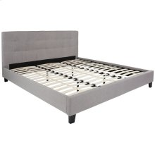 King Size Upholstered Platform Bed in Light Gray Fabric
