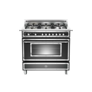 36 inch All Gas Range, 6 Brass Burner Matt Black - MATT BLACK