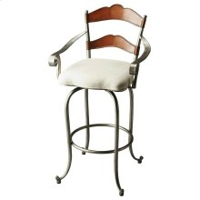 This gorgeous Bar Stool features wrought iron cabriole legs, circular stretcher and arms, all in a gleaming silver finish; a wooden seatback in a rich cherry finish; and a generously sized seat cushion upholstered in an ivory cotton hobnail fabric.