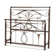 Lucinda Metal Headboard and Footboard Bed Panels with Intricate Scrollwork and Sleigh-Styled Top Rails, Marbled Russet Finish, California King