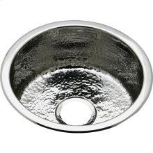 "Elkay Stainless Steel 16-3/8"" x 16-3/8"" x 7"", Single Bowl Dual Mount Bar Sink Hammered Mirror"