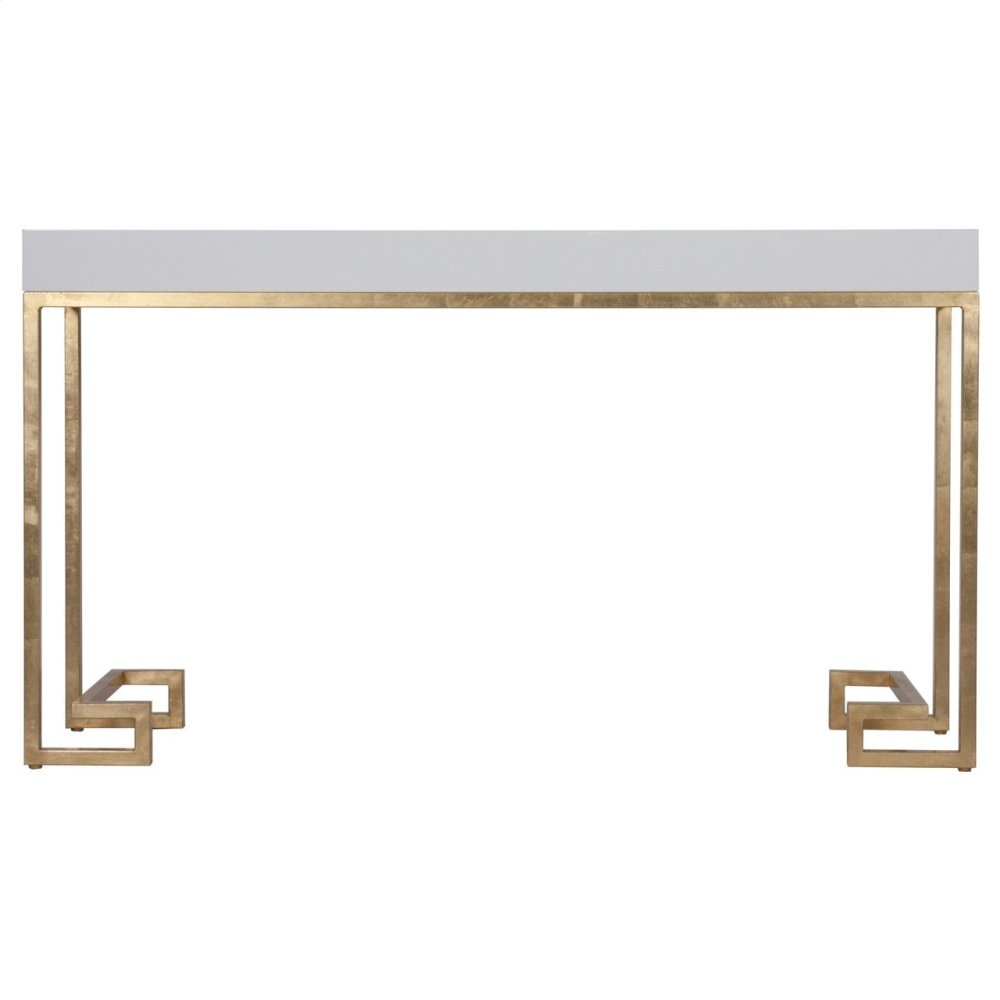 White Lacquer Console With Gold Leaf Greek Key Base